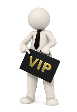 3d business man pointing at his VIP briefcase - Isolated Standard-Bild
