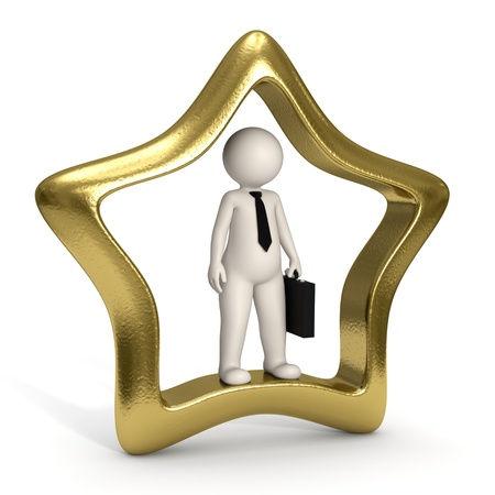3d business man standing in a gold VIP icon - Isolated