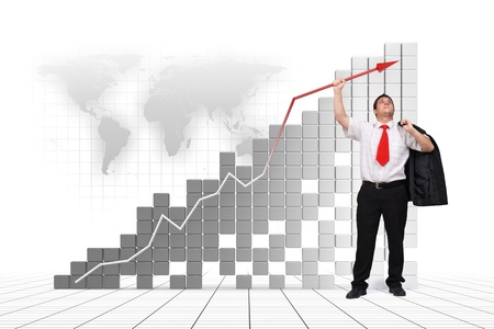high up: Business man holding graph arrow high up - 3d image and photo combination