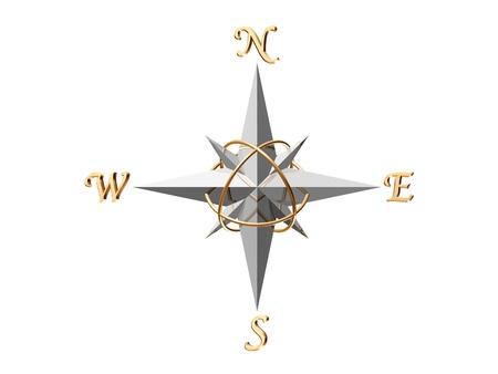 kompas: 3d rndered stříbrný kompas