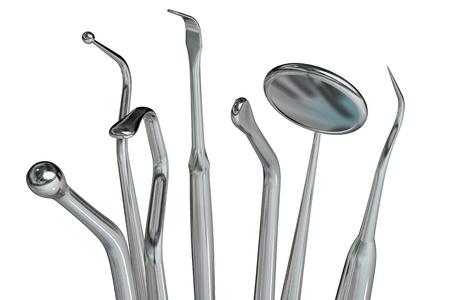 medical instruments: Dụng cụ nha khoa có nhiều chi tiết photorealistic cô lập