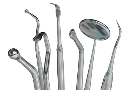 dental mirror: Photorealistic highly detailed dental instruments isolated