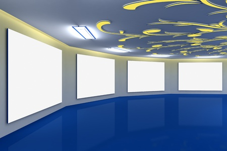 ceiling design: Modern virtual blue gallery with floral design on ceiling Stock Photo