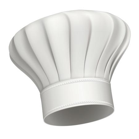 gorro chef: Imagen realista ilustraci�n de un blanco gorro de cocinero