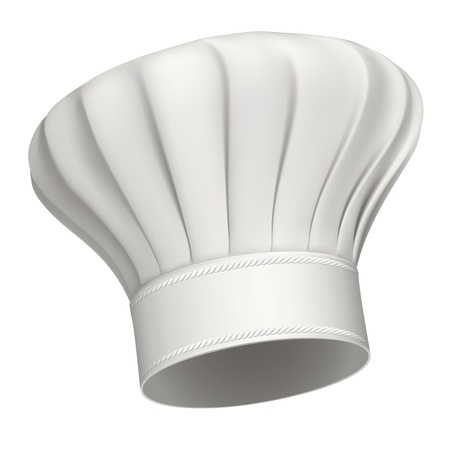 fine cuisine: Picture realistic illustration of a white chef hat