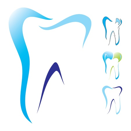 cleanliness: Abstract illustration of teeth as icons Illustration