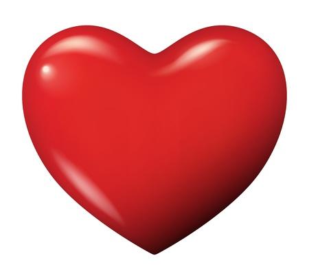붉은 심장의 그림 - 고립 일러스트