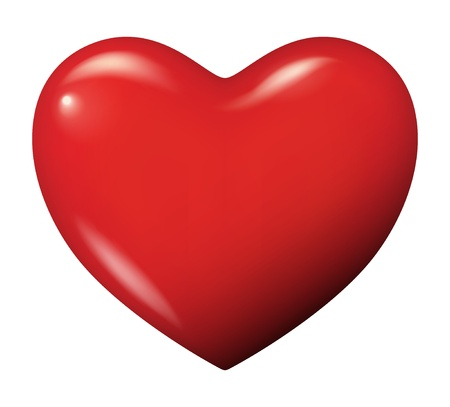 shiny heart: illustration of a red heart - Isolated