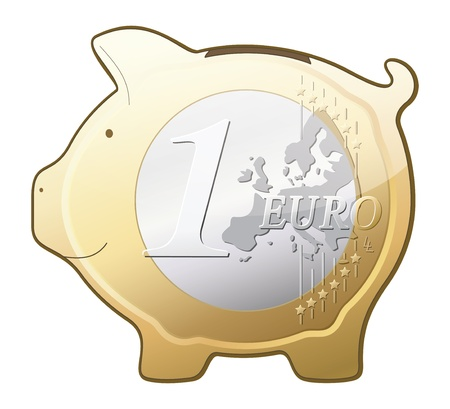 1 euro: euro coin piggy bank icon isolated on white background