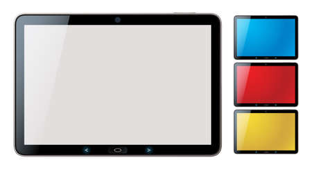 Picture-realistic illustration of different colored horizontal tablet pc set with copy space on the screen - isolated Vector