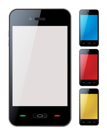 phone icon: Picture-realistic illustration of different colored smart phones with copy space on the screen - isolated