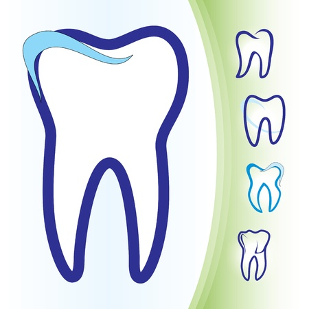 tooth root: Abstract illustration of teeth as icons Illustration