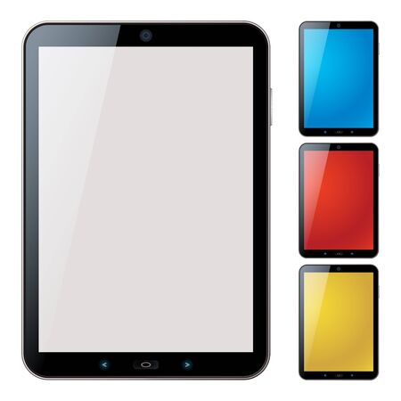 Picture-realistic illustration of different colored vertical tablet pc set with copy space on the screen Vector