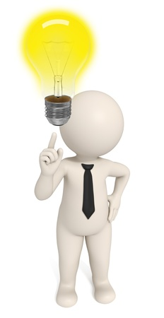 attention sign: 3d business man pointing to a light bulb to pay attention - he Stock Photo