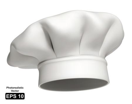 cocinero: Ilustraci�n fotorrealista de un sombrero de chef blanco moderno Vectores