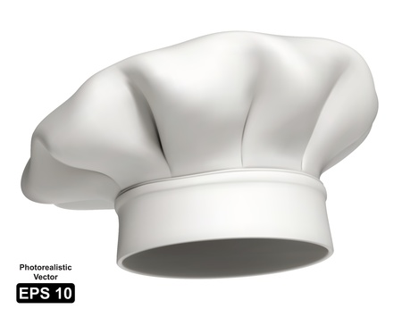 Photorealistic illustration of a modern white chef hat