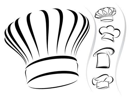fine cuisine: Cinque chef hat silhouettes Vettoriali