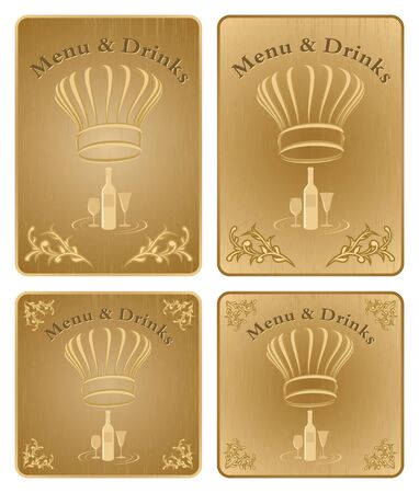 Four different chef menu and drinks board or covers  Vector