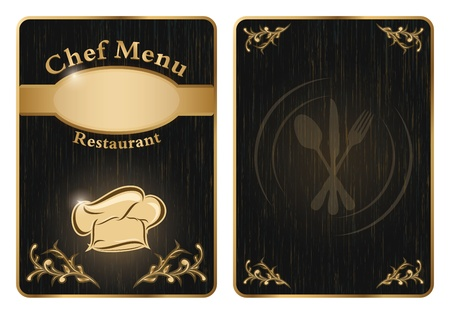 chief: Chef menu board covers - golden isolated Illustration