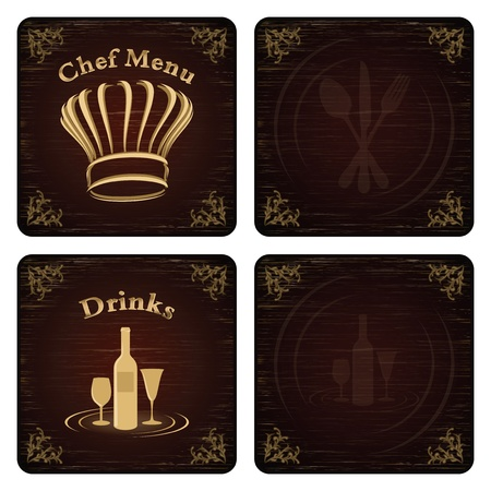 Golden chef menu board covers with red - black background and fine scatches Vector