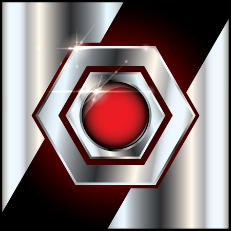 Abstract metal background and red glossy button in the middle with copyspace and lens flare effect Vector