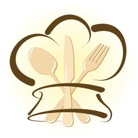 Simple restaurant icon with cutlery and chef hat Illustration