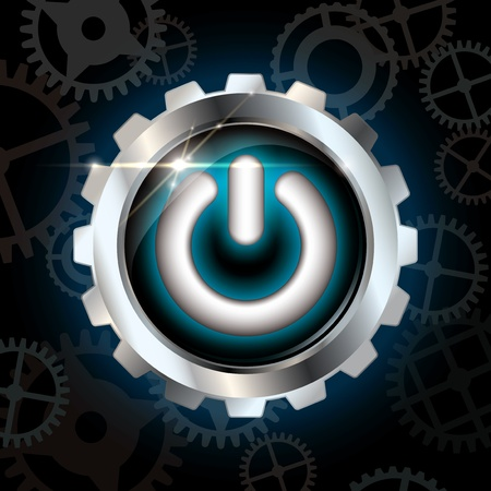 Blue power on shining metallic vector button on dark blue background with gear silhouettes and lens flare Vector