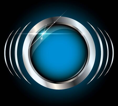 Blue metallic silver glossy vector button with light effects on black background and copyspace inside the button