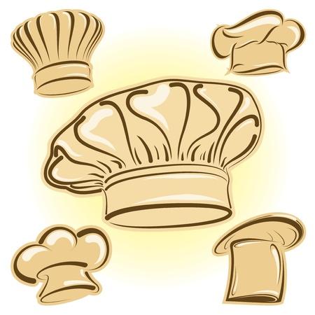 fine cuisine: Quattro cappelli da cuoco in formato vettoriale come icone