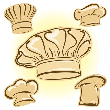 Four chef hats in vector format as icons