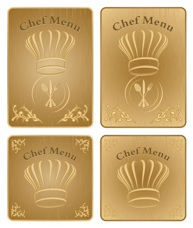 Four different chef menu board covers - isolated vector Vector