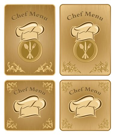 Four different chef menu board covers - isolated vector Stock Vector - 13500217