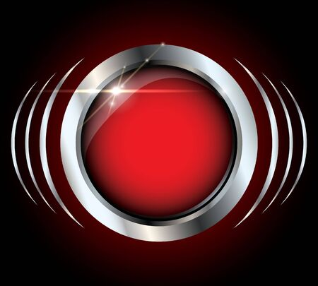 Red metallic silver glossy vector button with light effects on black background and copyspace inside the button Vector