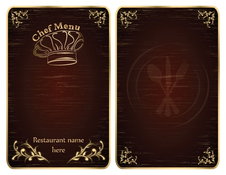 Golden restaurant chef menu board covers - vector set