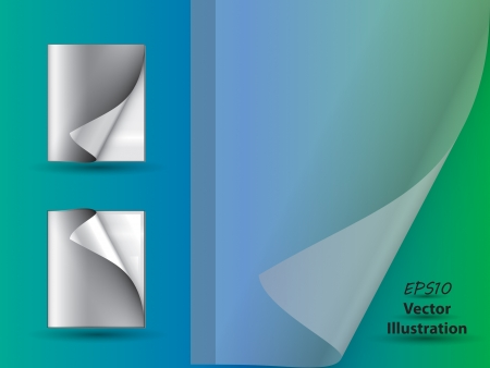 Abstract magazines with page curls and copyspace on blue - green background and transparent cover Illustration