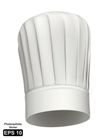 Fotorrealista de un sombrero blanco de chef de altura sobre fondo blanco Ilustración de vector