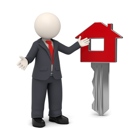 3d business man presenting red home key - 3d rendered image on white background with soft shadows Stock Photo - 14698490