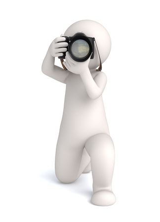 look at camera: 3d virtual photographer guy taking the shot - Image rendered with soft shadows Stock Photo