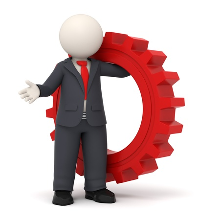3d business man holding a big red gear in his hand - Business solution concept Standard-Bild