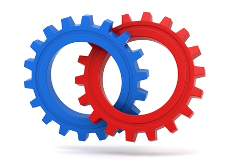 3d rendered red and blue gears connected to each other - Business concept Standard-Bild