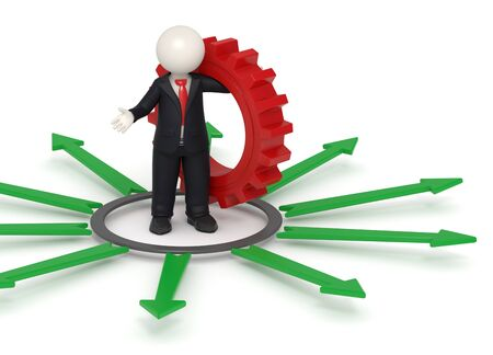 3d rendered business man in black suit standing with a red gear in his hand surrounded by green arrows representing the way for solutions concept
