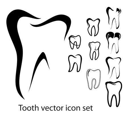 tooth icon: Set of 10 different tooth  illustrations isolated