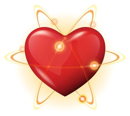 Ilustración de un corazón rojo 3d protección con átomos - concepto protegida corazón poderoso