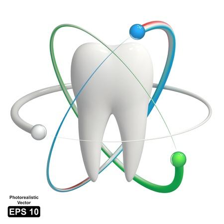 Réaliste 3D icon - concept de la dent protégée par des molécules d'atomes Vecteurs