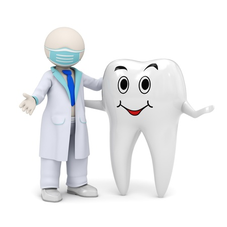 dentist icon: 3d photo-realistic render of a 3d dentist and a smiling tooth standing in welcome pose Stock Photo