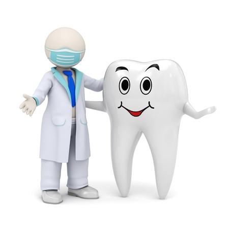 odontologia: 3d render fotorrealista de un dentista 3d y un diente de pie sonriendo en señal de bienvenida pose
