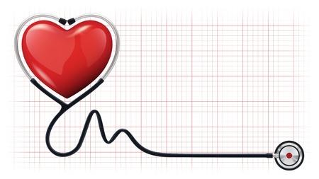 illustrazione di un cuore rosso 3d con uno stetoscopio su sfondo realistico cardiogramma Vettoriali
