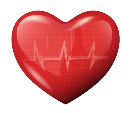 cardiograph: illustration of a 3d red heart and ECG cardiogram reflection icon