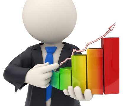 growing up: 3d rendered business man close-up holding a colorful financial graph and pointing to it Stock Photo