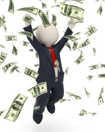 rich people: 3d rendered happy business man jumping for joy and victory in money rain Stock Photo